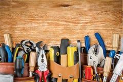 Work tool. Craftsperson mechanic repairman belt tool belt carpentry stock photography
