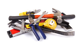 Work tool heap on white background Stock Photo