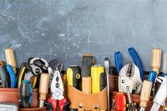 Work tool. Craftsperson mechanic repairman belt tool belt carpentry stock images