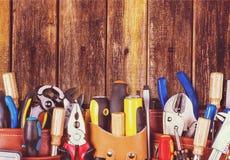 Work tool. Craftsperson mechanic repairman belt tool belt carpentry royalty free stock photo