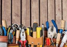 Work tool. Craftsperson mechanic repairman belt tool belt carpentry royalty free stock image