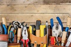 Work tool. Craftsperson mechanic repairman belt tool belt carpentry royalty free stock photos