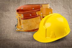 Work tool. Electrician hat violence construction backgrounds white Stock Photo