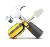 Work tools. Vector illustration of detailed screwdriver and hammer icon isolated on white background Stock Photo