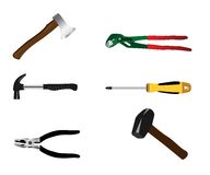 Work tools. Illustrations of work tools isolated on white Royalty Free Stock Image