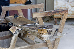 Work tools on bench platform. Craftsman tools organized on wooden platform Stock Photo