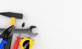 Work tools. On blank sheet of paper Royalty Free Stock Images