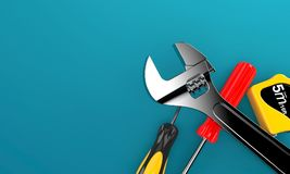 Work tools. On blue background Royalty Free Stock Image