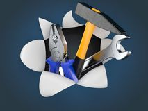 Work tools on blue background. 3d Royalty Free Stock Photography