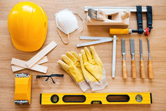 Work tools for carpenter. Royalty Free Stock Image
