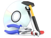 Work tools with cd. On white background Royalty Free Stock Images
