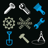 Work tools collection, repair instruments for carpentry and manu Stock Image