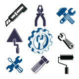 Work tools collection, repair instruments for manufacturing Royalty Free Stock Images