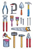 Vector work tools home repair color sketch icons Stock Images