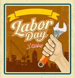 Work tools construction in human hand Labor day Royalty Free Stock Images