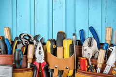 Work Tools. Craftsperson Mechanic Repairman Belt Tool Belt Carpentry stock photo