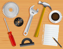 Work tools and desk Stock Photos