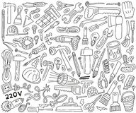 Work tools - doodles Stock Images