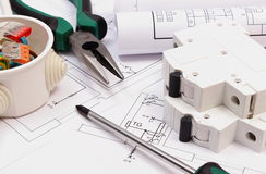 Work tools, electrical box and fuse, electrical construction drawing Stock Photos