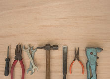 Work tools hammer, wrench, screwdriver, pincers, pliers hand Royalty Free Stock Image