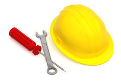 Work tools and hardhat isolated Royalty Free Stock Photo