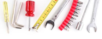Work tools header. Header or banner for a website with work tools royalty free stock image