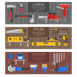 Work Tools Horizontal Banners Set Stock Images