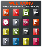 Work tools icons set. In flat design with long shadow vector illustration