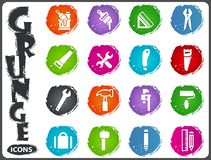 Work tools icons set in grunge style. Work tools icon set for web sites and user interface in grunge style Stock Image