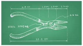 Hand Drawn Dimension of Combination Pliers. Work Tools, Illustration Hand Drawn Sketch Dimension of Pliers. A Hand Tool Used to Hold Objects Firmly Stock Image