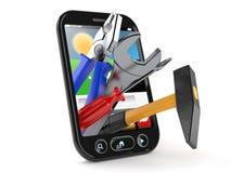 Work tools inside smart phone. Isolated on white background Royalty Free Stock Photo