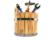 Work tools inside wooden bucket. Isolated on white background Royalty Free Stock Photos