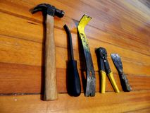 Work Tools Laying On Wooden Background Royalty Free Stock Photo