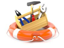 Work tools with life buoy. Isolated on white background Royalty Free Stock Image