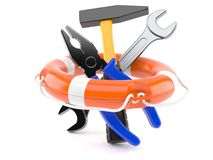 Work tools with life buoy. On white background Stock Photo