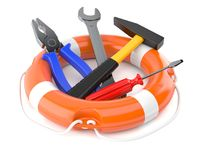 Work tools with life buoy. Isolated on white background Royalty Free Stock Photo