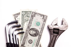 Work tools lying with Money Royalty Free Stock Photos