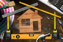 Work Tools and Model House - Home Improvement stock photo