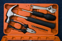 Work tools in orange box Royalty Free Stock Photo