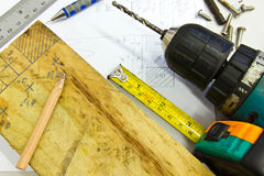 Work tools and planks. Of wood Royalty Free Stock Photos
