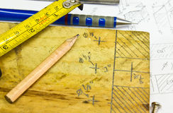 Work tools and planks. Of wood Royalty Free Stock Image
