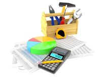 Work tools with report and pie chart. Isolated on white background Royalty Free Stock Images