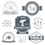 Work tools set label template of emblem element for your product or design, web and mobile applications with text Stock Image