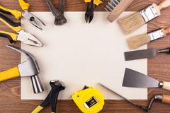 Work tools and a sheet of paper. Royalty Free Stock Photography