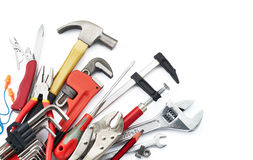 Work tools. Various type of tools on white background with copy space royalty free stock photo