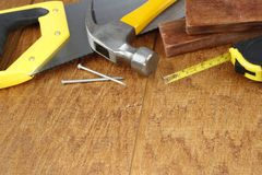 Work tools on wood Royalty Free Stock Image