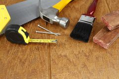 Work tools on wood Royalty Free Stock Photography