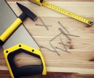 Work tools on wood Stock Photos