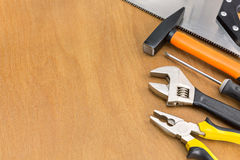 Work tools on wood background Stock Photos