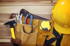 Work tools on wood Royalty Free Stock Photo
